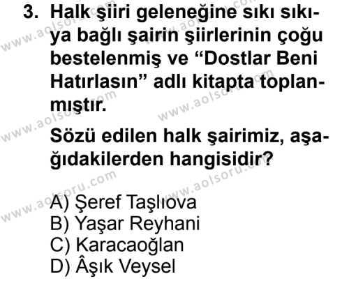 Seçmeli Türk Edebiyatı 8 Dersi 2012 - 2013 Yılı 2. Dönem Sınav Soruları 3. Soru