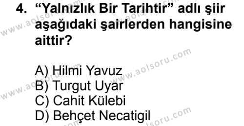 Seçmeli Türk Edebiyatı 8 Dersi 2012 - 2013 Yılı 2. Dönem Sınav Soruları 4. Soru
