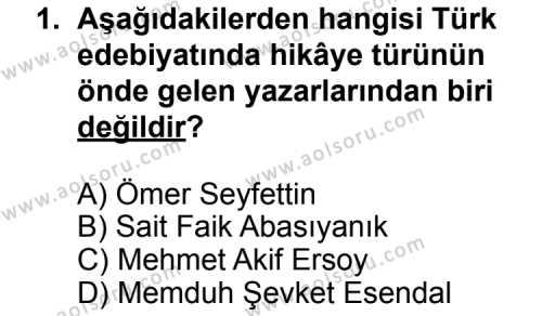 Seçmeli Türk Edebiyatı 8 Dersi 2013 - 2014 Yılı 1. Dönem Sınav Soruları 1. Soru