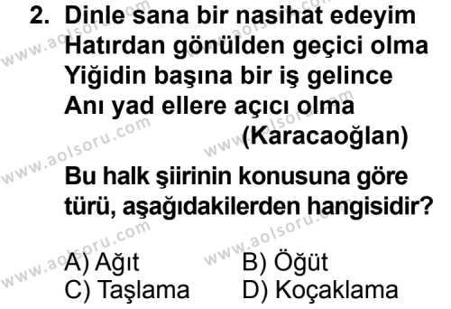 Seçmeli Türk Edebiyatı 8 Dersi 2013 - 2014 Yılı 1. Dönem Sınav Soruları 2. Soru