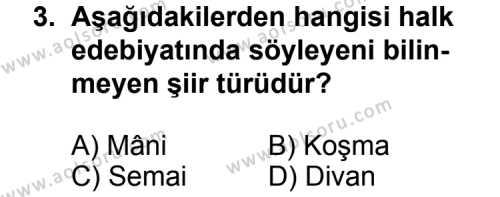 Seçmeli Türk Edebiyatı 8 Dersi 2013 - 2014 Yılı 1. Dönem Sınav Soruları 3. Soru