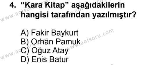 Seçmeli Türk Edebiyatı 8 Dersi 2013 - 2014 Yılı 1. Dönem Sınav Soruları 4. Soru