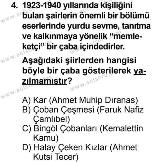 Seçmeli Türk Edebiyatı 8 Dersi 2013 - 2014 Yılı 2. Dönem Sınav Soruları 4. Soru