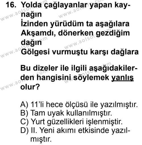 Seçmeli Türk Edebiyatı 8 Dersi 2014-2015 Yılı 1. Dönem Sınavı 16. Soru