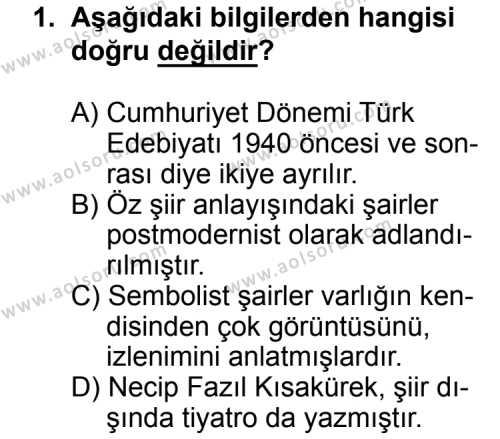 Seçmeli Türk Edebiyatı 8 Dersi 2014 - 2015 Yılı Ek Sınav Soruları 1. Soru