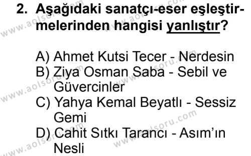 Seçmeli Türk Edebiyatı 8 Dersi 2014 - 2015 Yılı Ek Sınav Soruları 2. Soru