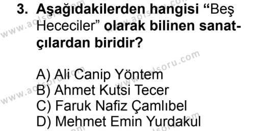 Seçmeli Türk Edebiyatı 8 Dersi 2014 - 2015 Yılı Ek Sınav Soruları 3. Soru