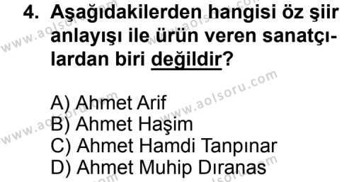 Seçmeli Türk Edebiyatı 8 Dersi 2014 - 2015 Yılı Ek Sınav Soruları 4. Soru