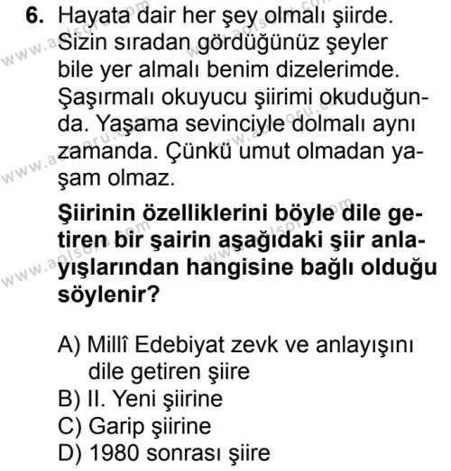 Seçmeli Türk Edebiyatı 8 Dersi 2016-2017 Yılı 1. Dönem Sınavı 6. Soru