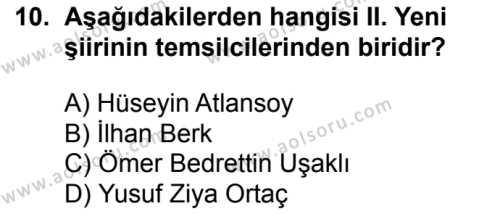 Seçmeli Türk Edebiyatı 8 Dersi 2016-2017 Yılı 1. Dönem Sınavı 10. Soru