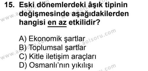 Seçmeli Türk Edebiyatı 8 Dersi 2016-2017 Yılı 1. Dönem Sınavı 15. Soru