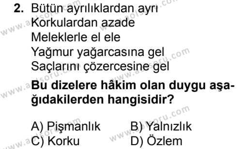 Seçmeli Türk Edebiyatı 8 Dersi 2016 - 2017 Yılı 2. Dönem Sınav Soruları 2. Soru