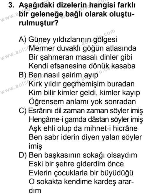 Seçmeli Türk Edebiyatı 8 Dersi 2016 - 2017 Yılı 2. Dönem Sınav Soruları 3. Soru