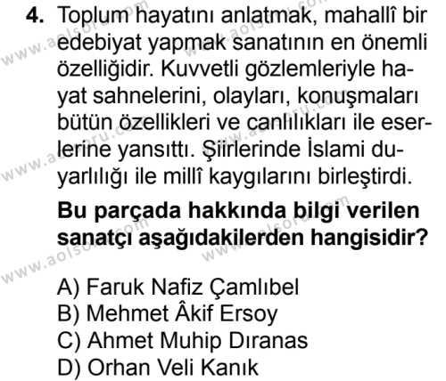 Seçmeli Türk Edebiyatı 8 Dersi 2016 - 2017 Yılı 2. Dönem Sınav Soruları 4. Soru