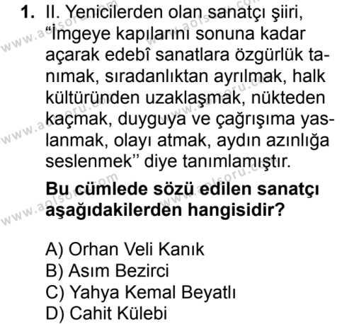 Seçmeli Türk Edebiyatı 8 Dersi 2016 - 2017 Yılı 3. Dönem Sınav Soruları 1. Soru