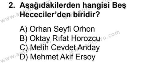 Seçmeli Türk Edebiyatı 8 Dersi 2016 - 2017 Yılı 3. Dönem Sınav Soruları 2. Soru