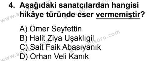Seçmeli Türk Edebiyatı 8 Dersi 2016 - 2017 Yılı 3. Dönem Sınav Soruları 4. Soru