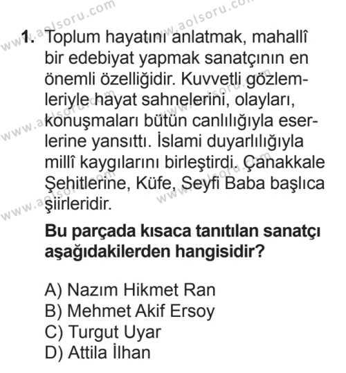 Seçmeli Türk Edebiyatı 8 Dersi 2016 - 2017 Yılı Ek Sınav Soruları 1. Soru