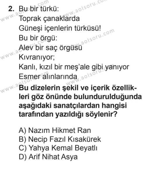 Seçmeli Türk Edebiyatı 8 Dersi 2016 - 2017 Yılı Ek Sınav Soruları 2. Soru