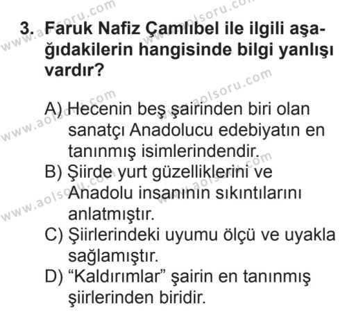 Seçmeli Türk Edebiyatı 8 Dersi 2016 - 2017 Yılı Ek Sınav Soruları 3. Soru
