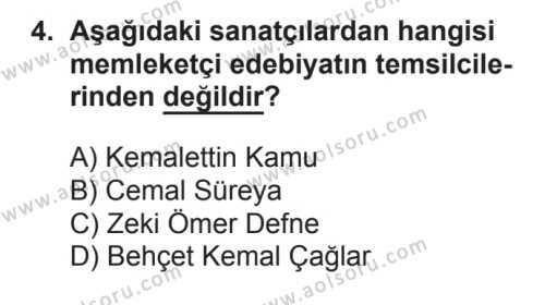 Seçmeli Türk Edebiyatı 8 Dersi 2016 - 2017 Yılı Ek Sınav Soruları 4. Soru