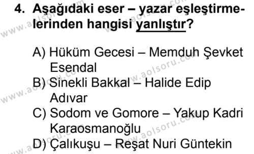 Seçmeli Türk Edebiyatı 8 Dersi 2017-2018 Yılı 1. Dönem Sınavı 4. Soru