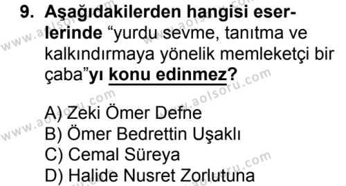 Seçmeli Türk Edebiyatı 8 Dersi 2017-2018 Yılı 1. Dönem Sınavı 9. Soru