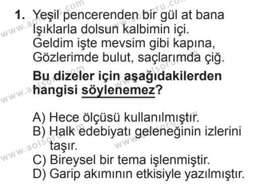 Seçmeli Türk Edebiyatı 8 Dersi 2017 - 2018 Yılı 2. Dönem Sınavı 1. Soru