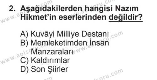 Seçmeli Türk Edebiyatı 8 Dersi 2017 - 2018 Yılı 2. Dönem Sınavı 2. Soru