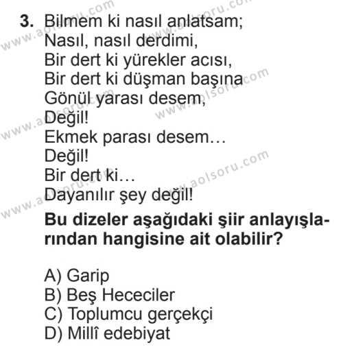 Seçmeli Türk Edebiyatı 8 Dersi 2017 - 2018 Yılı 2. Dönem Sınavı 3. Soru