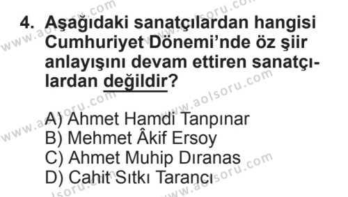 Seçmeli Türk Edebiyatı 8 Dersi 2017 - 2018 Yılı 2. Dönem Sınavı 4. Soru