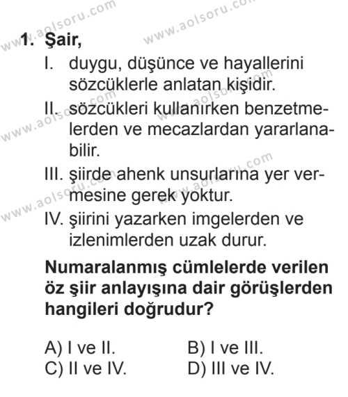 Seçmeli Türk Edebiyatı 8 Dersi 2017 - 2018 Yılı 3. Dönem Sınavı 1. Soru