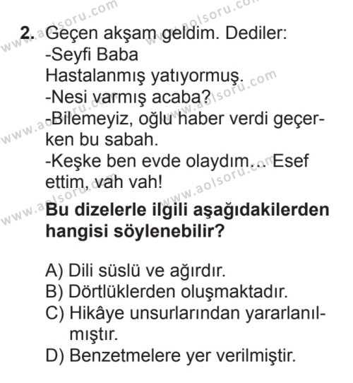 Seçmeli Türk Edebiyatı 8 Dersi 2017 - 2018 Yılı 3. Dönem Sınavı 2. Soru