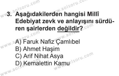 Seçmeli Türk Edebiyatı 8 Dersi 2017 - 2018 Yılı 3. Dönem Sınavı 3. Soru