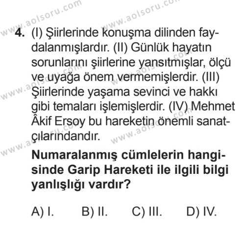 Seçmeli Türk Edebiyatı 8 Dersi 2017 - 2018 Yılı 3. Dönem Sınavı 4. Soru
