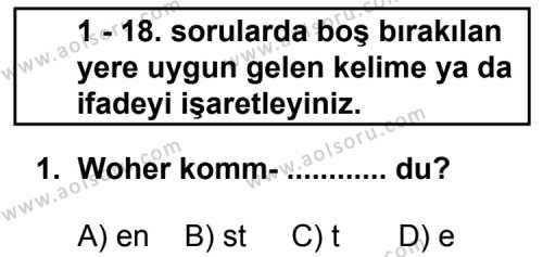 Seçmeli Yabancı Dil Almanca 3 Dersi 2011 - 2012 Yılı Ek Sınav Soruları 1. Soru
