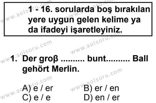 Seçmeli Yabancı Dil Almanca 3 Dersi 2012 - 2013 Yılı 1. Dönem Sınav Soruları 1. Soru