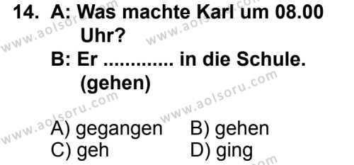 Seçmeli Yabancı Dil Almanca 3 Dersi 2012-2013 Yılı 1. Dönem Sınavı 14. Soru