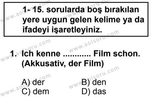 Seçmeli Yabancı Dil Almanca 3 Dersi 2013 - 2014 Yılı 1. Dönem Sınav Soruları 1. Soru