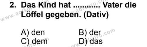 Seçmeli Yabancı Dil Almanca 3 Dersi 2013 - 2014 Yılı 1. Dönem Sınav Soruları 2. Soru