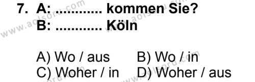 Seçmeli Yabancı Dil Almanca 3 Dersi 2013-2014 Yılı 1. Dönem Sınavı 7. Soru