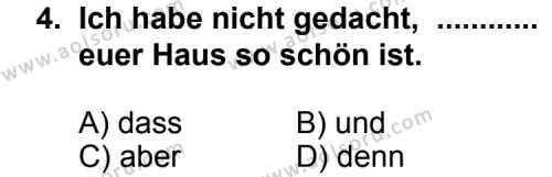 Seçmeli Yabancı Dil Almanca 3 Dersi 2013 - 2014 Yılı 2. Dönem Sınav Soruları 4. Soru