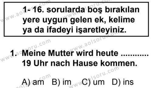 Seçmeli Yabancı Dil Almanca 3 Dersi 2014 - 2015 Yılı 1. Dönem Sınav Soruları 1. Soru