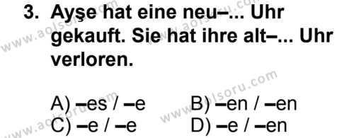 Seçmeli Yabancı Dil Almanca 3 Dersi 2014 - 2015 Yılı 1. Dönem Sınav Soruları 3. Soru