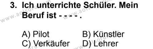 Seçmeli Yabancı Dil Almanca 3 Dersi 2014 - 2015 Yılı 2. Dönem Sınav Soruları 3. Soru