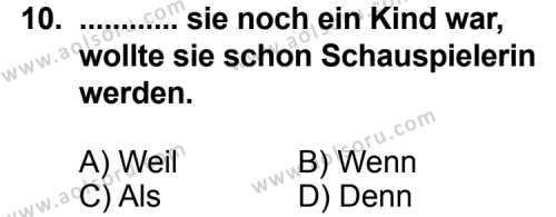 Seçmeli Yabancı Dil Almanca 4 Dersi 2011-2012 Yılı 1. Dönem Sınavı 10. Soru