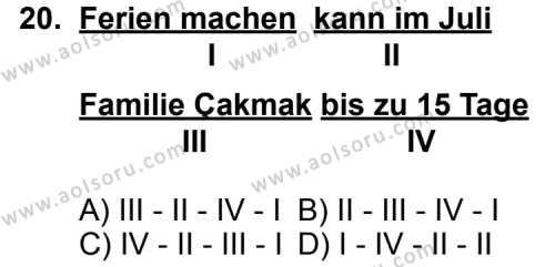 Seçmeli Yabancı Dil Almanca 4 Dersi 2011-2012 Yılı 1. Dönem Sınavı 20. Soru
