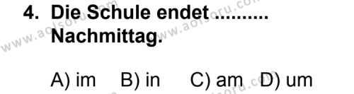 Seçmeli Yabancı Dil Almanca 4 Dersi 2012-2013 Yılı 1. Dönem Sınavı 4. Soru