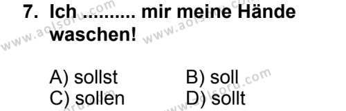Seçmeli Yabancı Dil Almanca 4 Dersi 2012-2013 Yılı 1. Dönem Sınavı 7. Soru