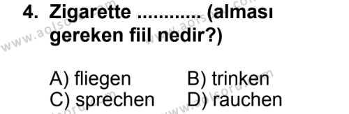 Seçmeli Yabancı Dil Almanca 4 Dersi 2013-2014 Yılı 1. Dönem Sınavı 4. Soru